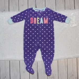 Carter's Girl's Fleece Footed Pajama's Size 6 Mo